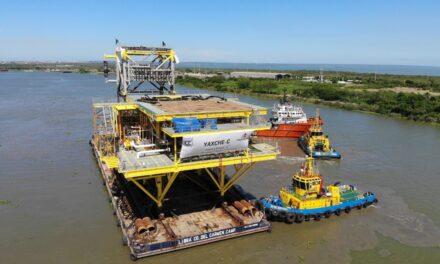 Concluyen instalación de la plataforma Yaxché-C, para Pemex, frente a la costa de Campeche